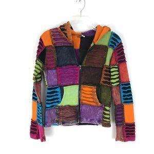 KPC Patchwork hoodie boho hippie rainbow colors